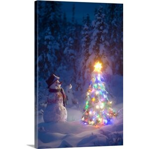 Christmas Art 'Snowman in Spruce Forest' by Kevin Smith Painting Print on Wrapped Canvas by Canvas On Demand