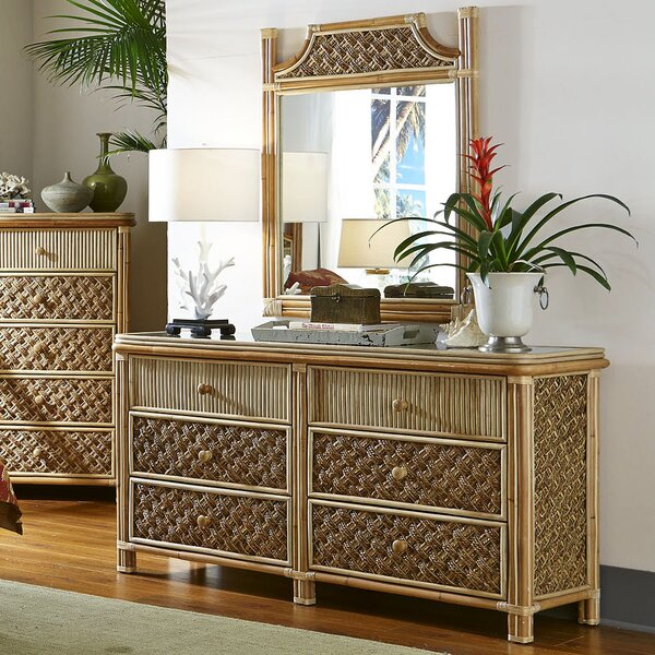 Jovani 6 Drawer Double Dresser with Mirror by Bay Isle Home