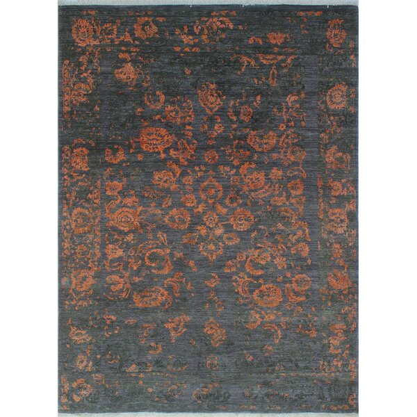 One-of-a-Kind Turner Distressed Washmah Hand-Knotted Wool Charcoal Area Rug by Bloomsbury Market
