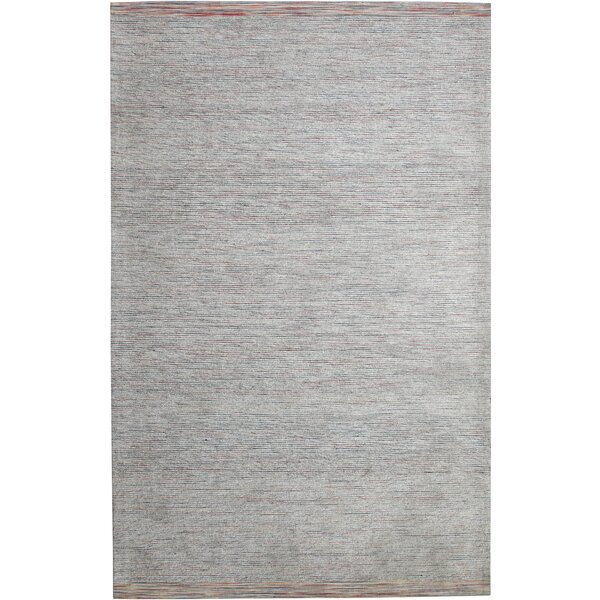 Hawtree Hand-Woven Grey Area Rug by Ebern Designs