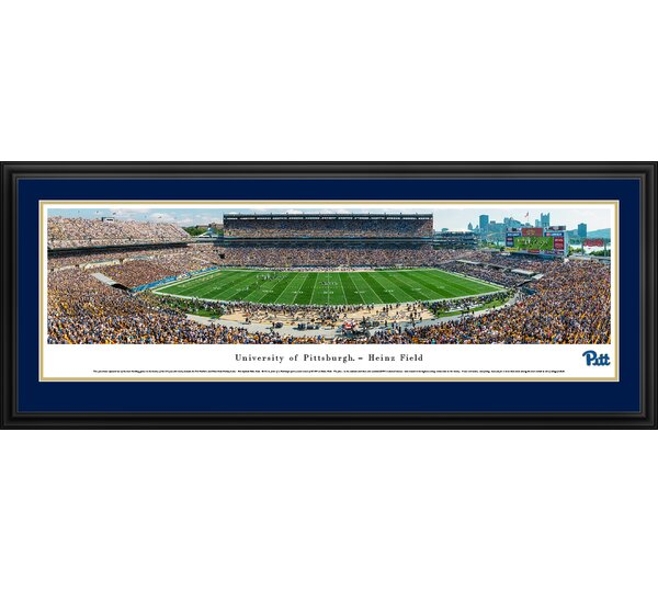 NCAA Pittsburgh Panthers Football 50 Yard Line Framed Photographic Print by Blakeway Worldwide Panoramas, Inc