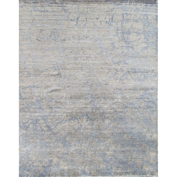 Modern Rayon from Bamboo Silk Hand-Knotted Gray/Taupe Area Rug by Pasargad