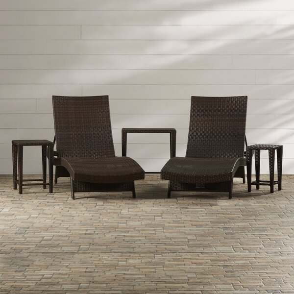 Waylon 5 Piece Adjustable Reclining Chaise Lounge with Table by Brayden Studio Brayden Studio