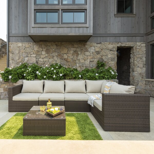 East Helena 6 Piece Rattan Sectional Seating Group with Cushions by Brayden Studio