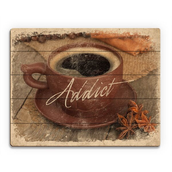 Wood Slats Coffee Addict Paper Graphic Art on Plaque by Click Wall Art