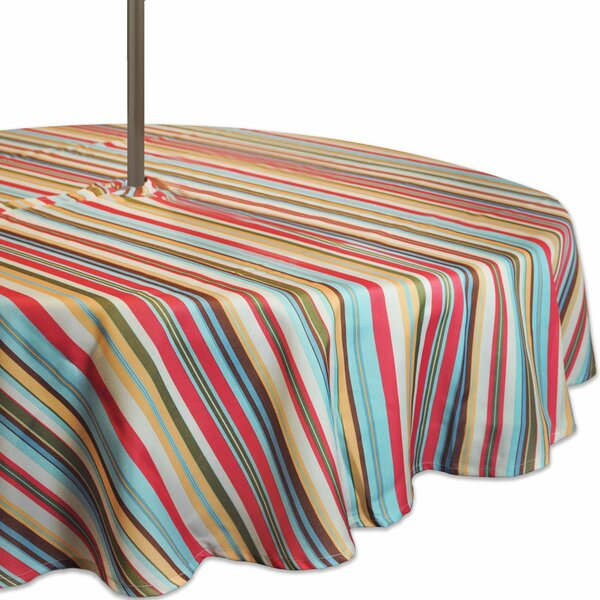 Audio Summer Stripe Outdoor Umbrella Tablecloth with Zipper by Highland Dunes