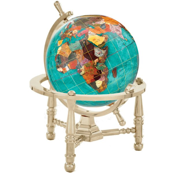 Gemstone Globe Opalite Ocean with Nautical 3-Leg Stand by Alexander Kalifano