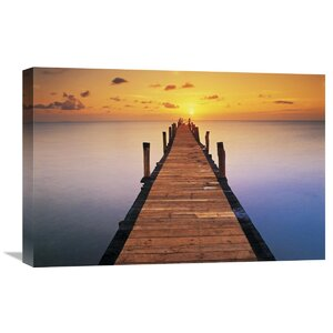 Sunset Dock by Peter Adams Photographic Print on Wrapped Canvas by Global Gallery