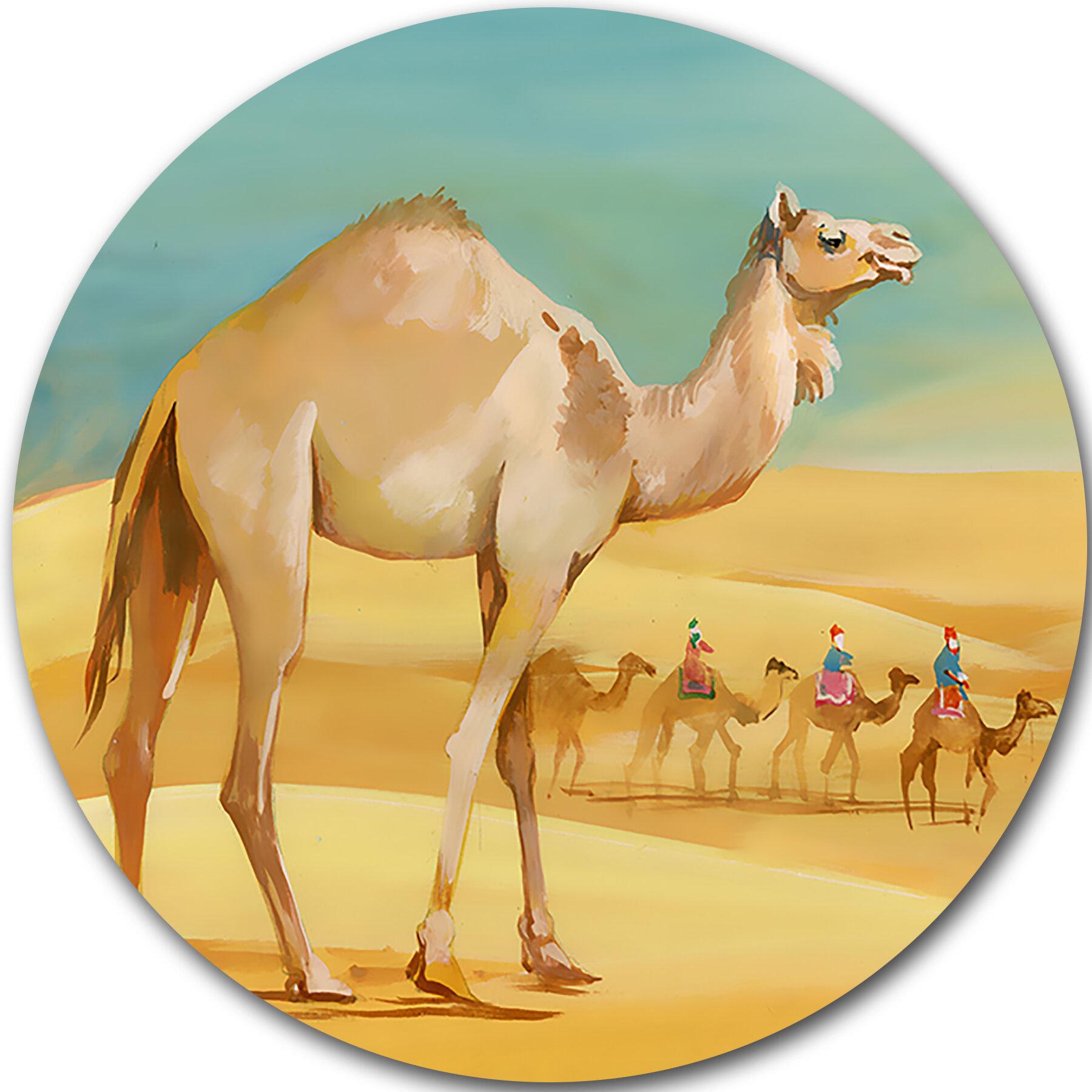 DesignArt \'Camel Walking in Desert\' Painting Print on Metal | Wayfair.ca
