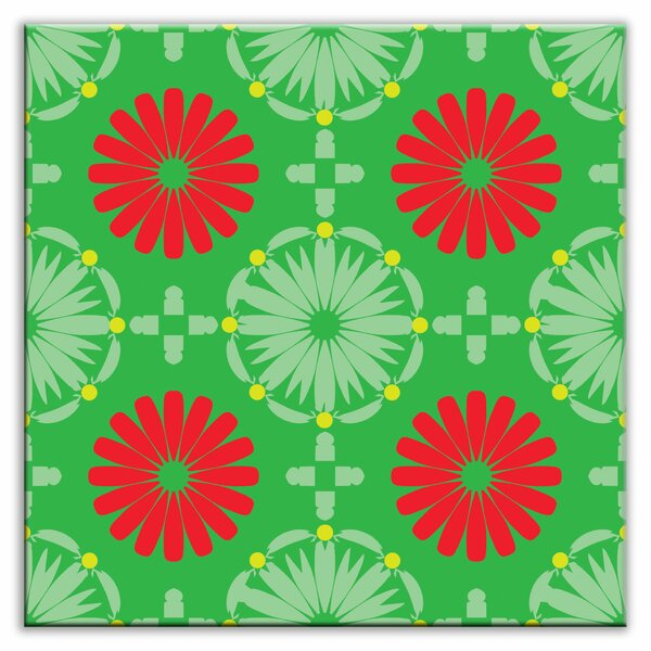Folksy Love 6 x 6 Glossy Decorative Tile in Kaleidoscope Green-Red by Oscar & Izzy