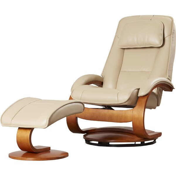 Home & Outdoor Flathead Lake Leather Manual Swivel Recliner With Ottoman