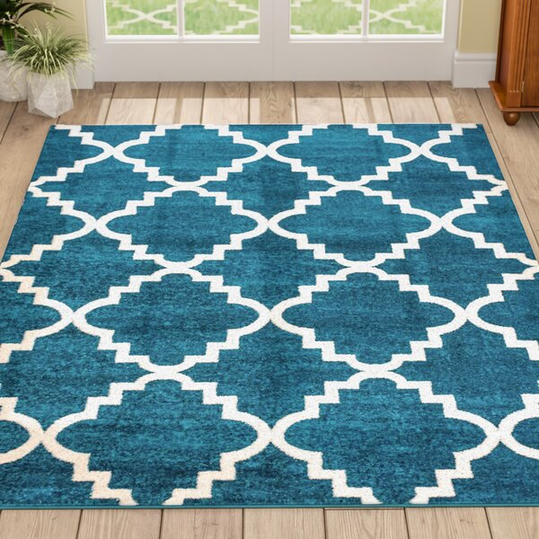 Ozzie Lattice Navy Blue/White Indoor Area Rug by The Twillery Co.