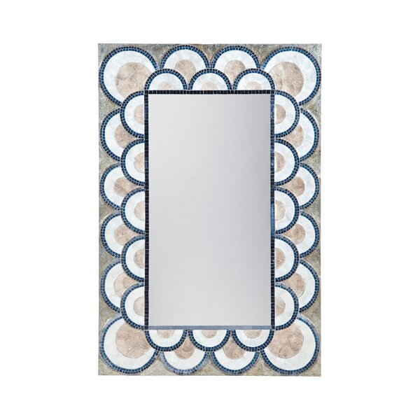 Renninger Art Deco Capiz Shell and Glass Mosaic Wall Mirror by Bungalow Rose