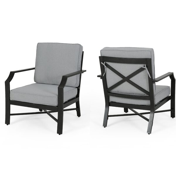Poff Outdoor Patio Chair with Cushions (Set of 2) by Canora Grey
