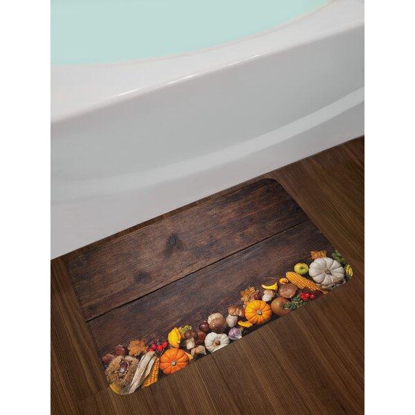 Harvest Food on Dark Wooden Table Bath Rug by East Urban Home