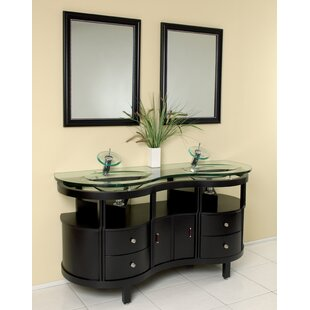Inexpensive Classico 63 Double Unico Modern Bathroom Vanity Set with Mirror By Fresca