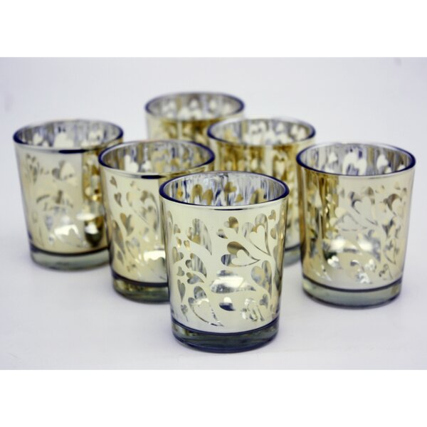 Heart Laser Cut Glass Votive (Set of 6) by V-More Inc.