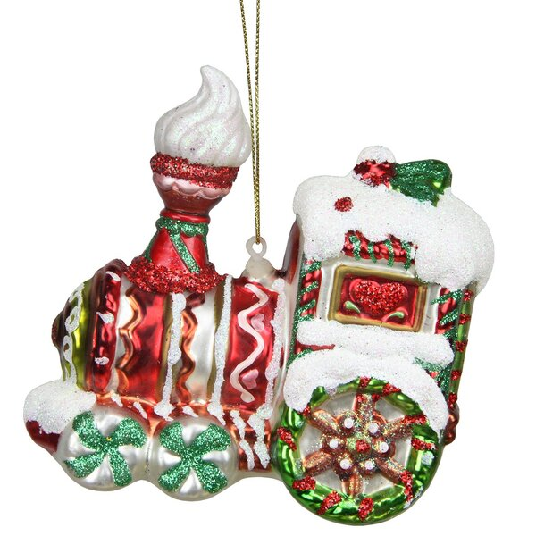 Peppermint Twist Glittered Glass Candy Cane Train