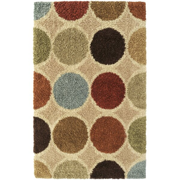 Beal Circle Beige Multi Rug by Ebern Designs