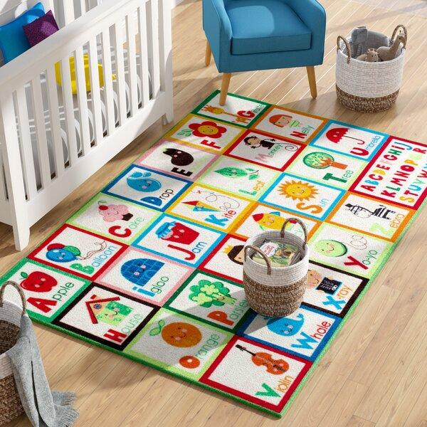 Rebekah Kids Alphabet Red/Green Area Rug by Zoomie Kids
