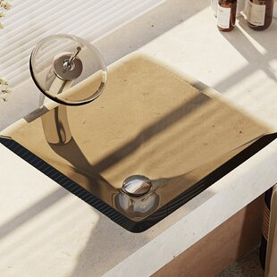 Best Price Glass Square Vessel Bathroom Sink with Faucet By René By Elkay
