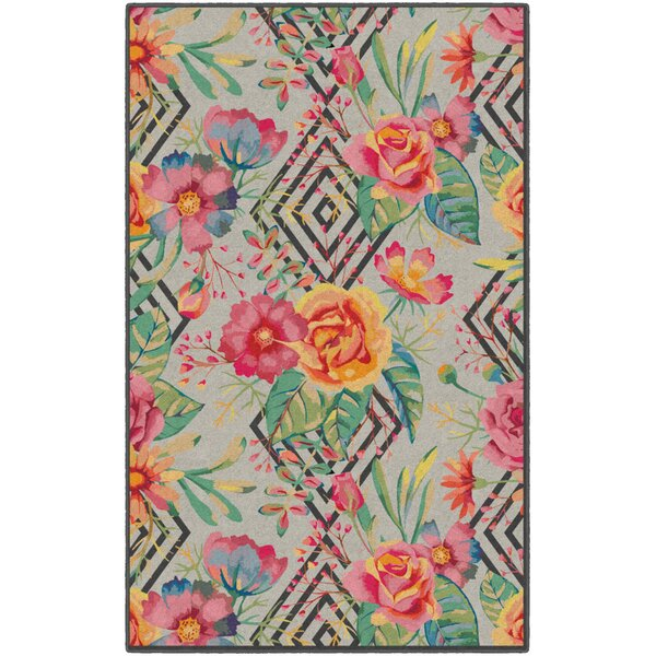 Burnette Geometric Floral Red/Beige Area Rug by Ebern Designs