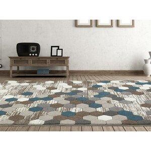Catalan Beige/Blue Indoor/Outdoor Area Rug