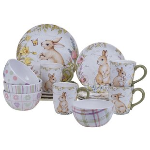 Palfi 16 Piece Dinnerware Set Service for 4  sc 1 st  Wayfair & Easter Dinnerware Sets Youu0027ll Love | Wayfair