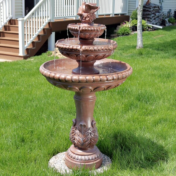 Resin/Concrete 3-Tier Dove Pair Water Fountain by Wildon Home ®