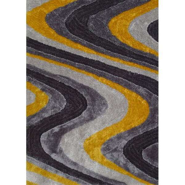 Osteen Shaggy Hand-Tufted Gray/Yellow Area Rug by Orren Ellis