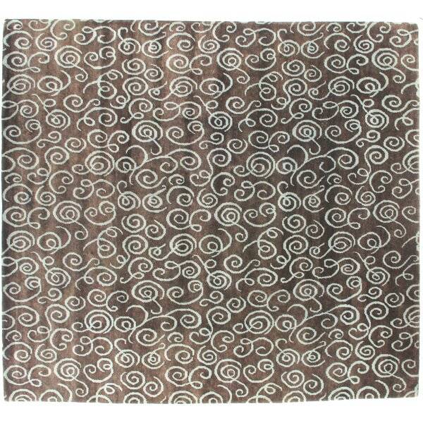 Metropolitan Hand Knotted Wool Brown/Light Blue Area Rug by Exquisite Rugs