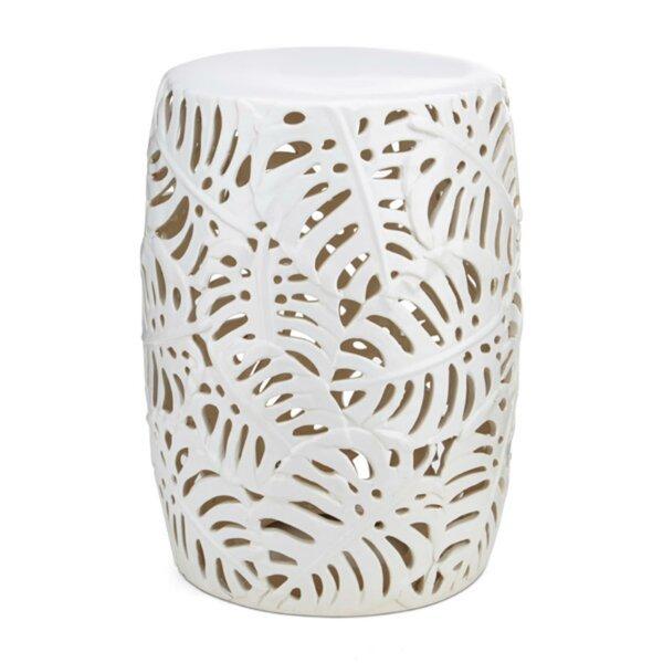 Noel Palm Leaf Cutwork Pattern Ceramic Garden Stool by Bay Isle Home
