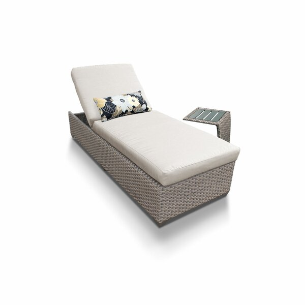 Florence Reclining Chaise Lounge with Cushions and Table by TK Classics
