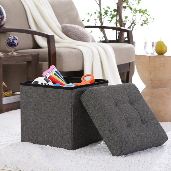 Lambertville Foldable Tufted Square Cube Foot Rest Storage Ottoman by Winston Porter