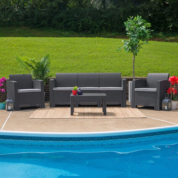 Trinity 4 Piece Sofa Seating Group with Cushions by Latitude Run