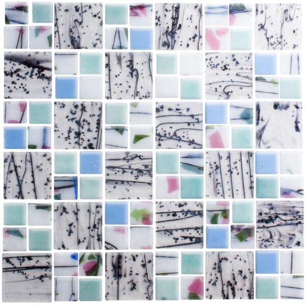 Signature Line Spring Tree Garden 21 x 21 Glass Mosaic Tile in Black/Blue by Susan Jablon