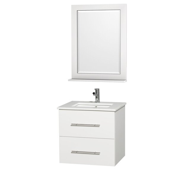 Centra 24 Single White Bathroom Vanity Set with Mirror by Wyndham Collection