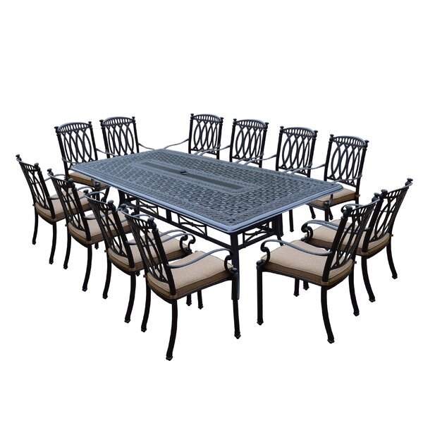 Morocco Aluminum 13 Piece Dining Set with Cushions by Oakland Living