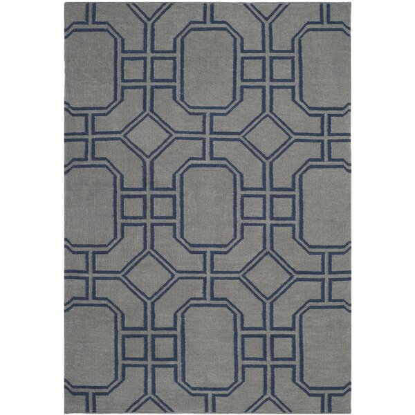 Dhurries Hand-Woven Wool Gray/Blue Area Rug by Safavieh