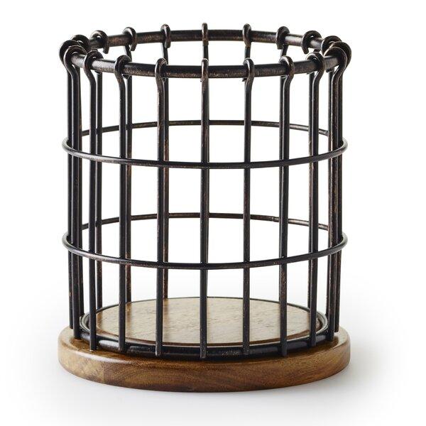 Anvil Cage Wire/Acacia Wood Flatware Caddy by Pfaltzgraff