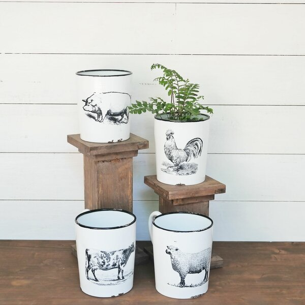 Enamel Rooster Metal Pot Planter by Foreside Home & Garden