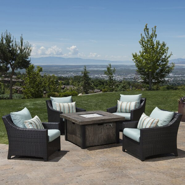 Northridge 5 Piece Rattan Sunbrella Multiple Chairs Seating Group with Cushions by Three Posts