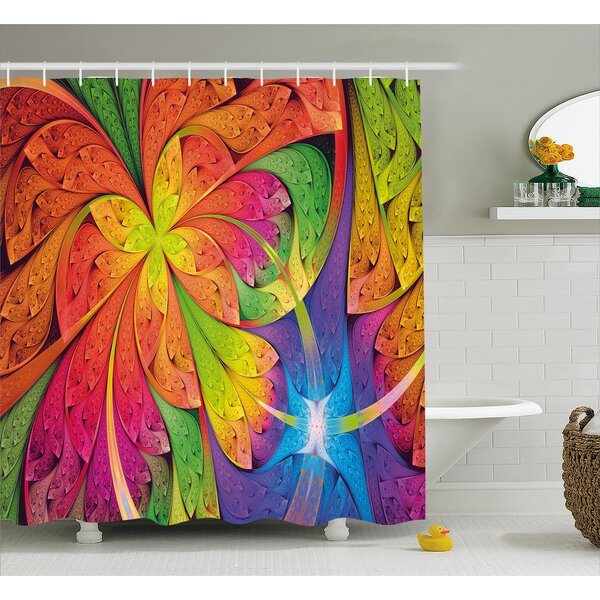 Contrast Curved Leaves Shower Curtain by East Urban Home