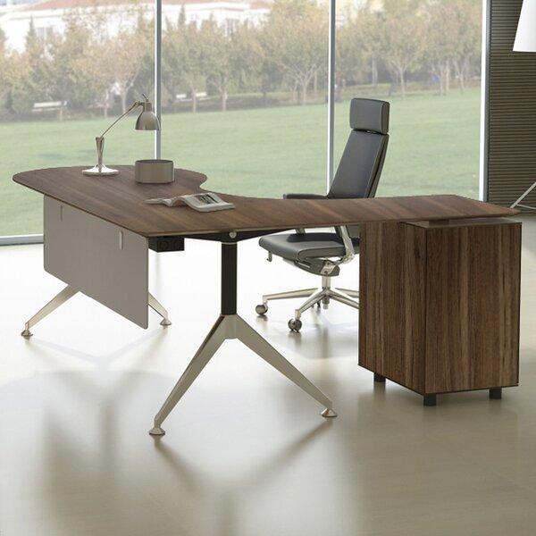 Manhattan Collection Teardrop L-Shape Executive Desk by Haaken Furniture