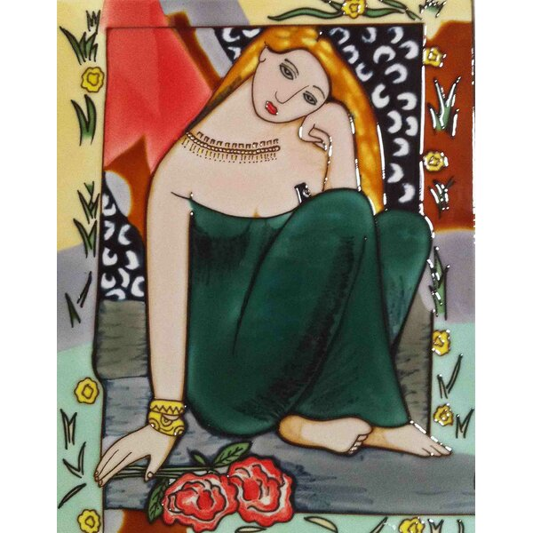 Girl in A Green Dress Tile Wall Decor by Continental Art Center