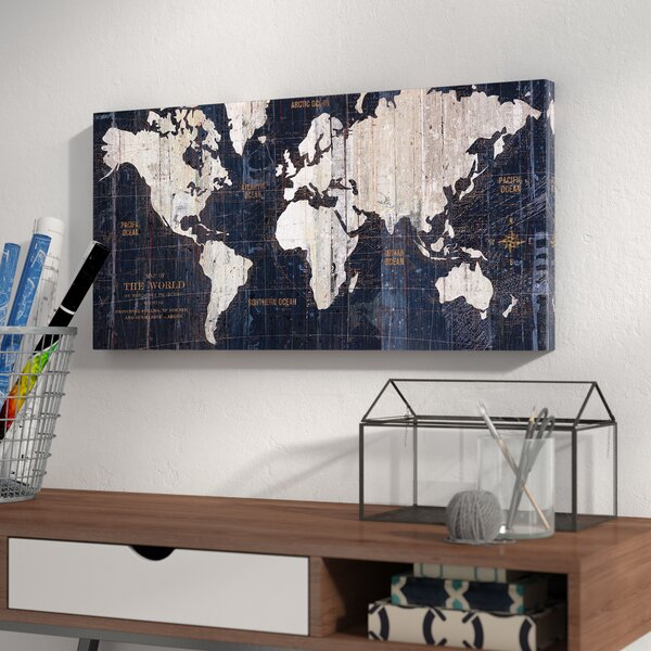 Old World Map Blue Graphic Art On Wrapped Canvas By Mercury Row.
