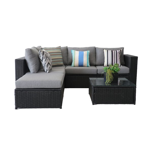 Dubreuil 4 Piece Rattan Sectional Seating Group with Cushions by Brayden Studio Brayden Studio