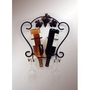 2 Bottle Wall Mounted Wine Rack by J & J Wire