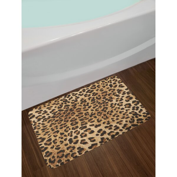 Leopard Print Skin Pattern of a Wild African Safari Animal Powerful Panthera Big Cat Non-Slip Plush Bath Rug by East Urban Home