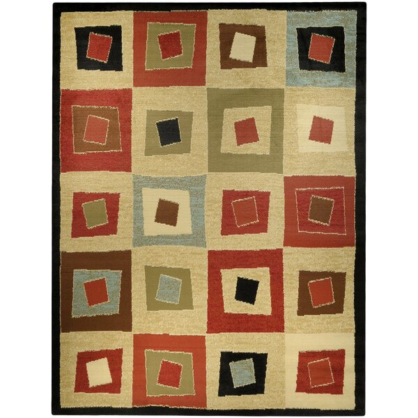 Armanno Squares Gold Area Rug by Ebern Designs